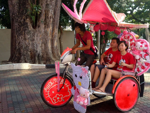 the Hello Kitty rickshaw belting out Gangnam Style managed to attract this matching couple